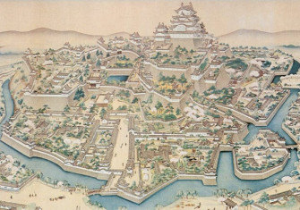 A hanging scroll painting of Himeji castle.