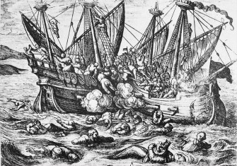 16th-century propaganda print depicting Huguenot aggression against Catholics at sea