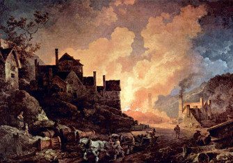 Coalbrookdale by Night by Philip James de Loutherbourg, painted 1801. This shows Madeley Wood (or Bedlam) Furnaces, which belonged to the Coalbrookdale Company from 1776 to 1796.
