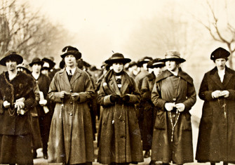 Republican women recite the Rosary outside Dublin's Mountjoy Prison following the execution of IRA member Thomaas Traynor during the Anglo-Irish War.