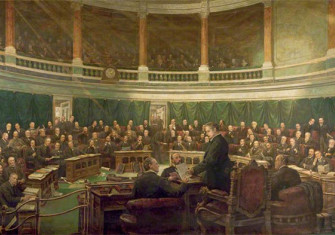 The First Meeting of the London County Council in the County Hall Spring Gardens, 1889 by Henry Jamyn Brooks