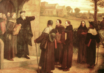 In this 19th-century illustration, John Wycliffe is shown giving the Bible translation that bore his name to his Lollard followers.