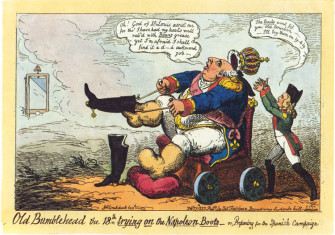 Caricature of Louis preparing for the Spanish expedition, by George Cruikshank
