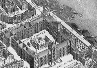 Detail from the Turgot map of Paris (published 1739) showing the Louvre.