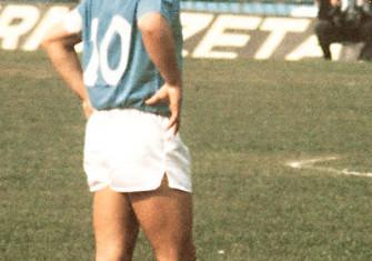 Maradona playing for Napoli in 1985.