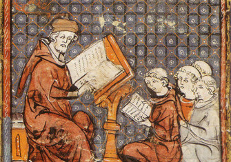 Teaching at Paris, in a late 14th-century Grandes Chroniques de France: the tonsured students sit on the floor.