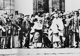 A teenage Emperor Meiji with foreign representatives at the end of the Boshin War, 1868-1870.