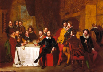 A fanciful 19th-century depiction of Shakespeare and his contemporaries at the Mermaid Tavern. Painting by John Faed, 1851.