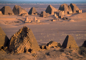 Funeral pyramids and temples from the Kingdom of Kush dating from 800 BC to AD 350 at Meroe, Sudan.