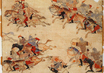 The Mongol cavalry pursuing their enemy.