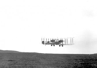 Alcock and Brown takeoff from St. John's, Newfoundland in 1919.
