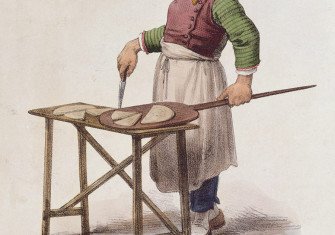Fast food outlet: a Neapolitan pizza seller, 19th century.