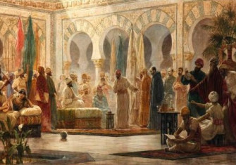 Abd-ar-Rahman III and his court in Medina Azahara, by Dionisio Baixeras Verdaguer.