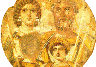 The Severan Tondo, c. 199, Severus, Julia Domna, Caracalla and Geta, whose face is erased.