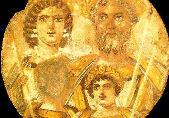 The Severan Tondo, c. 199, Severus, Julia Domna, Caracalla and Geta, whose face is erased.