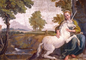 The Virgin and the Unicorn, by Domenico Zampieri (Domenichino), fresco, 1604-5.