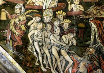 A 'doom mural' on the wall of St Thomas the Martyr, Salisbury, 1475