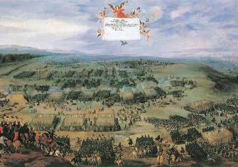 Contemporary painting showing the Battle of White Mountain (1620)