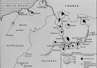 Map of northern Spain, showing proportion of confessions by witches in relation to accusations