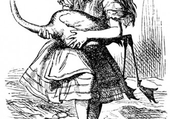 'The chief difficulty Alice found at first was in managing her flamingo'. Illustration by John Tenniel, 1865.