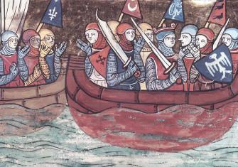 Crusaders embark for the Levant. From 'Le Roman de Godefroi de Bouillon', France, 1337. (Bibliothèque Nationale / Bridgeman Images)