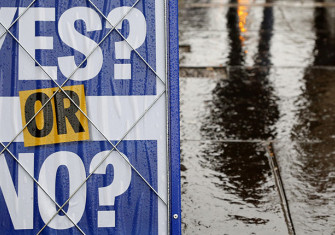 A newspaper advertisement ponders the result of the referendum on Scottish independence, Edinburgh, September 15th, 2014. Getty Images