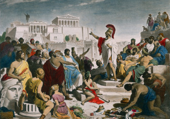 The Age of Pericles, after the painting, 1853, by Philipp Foltz