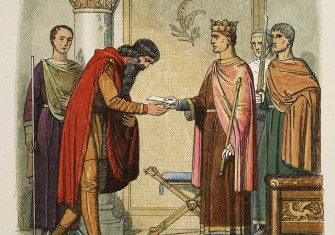 Anglo-Irish relations: Henry authorises Dermot to levy forces in 1170, from J.W.E. Doyle's A Chronicle of England, BC55 to AD 1485 (1863). (Bridgeman Images)