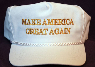 "A hat with the words ""Make America Great Again""."