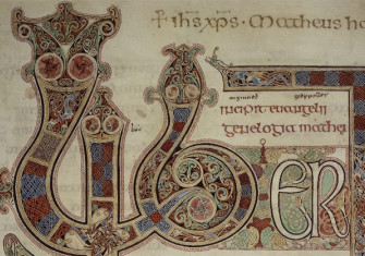Detail of the Lindisfarne Gospels, f.27r (c) British Library Board.