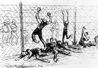 British concentration camp for the internment of insurgent Boers. Illustration by Jean Veber, from L'Assiette au Beurre, 1901 © Ullstein bild/Getty Images