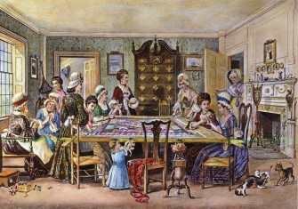 Women at a quilting bee. Lithograph, 1876 © Bridgeman Images.