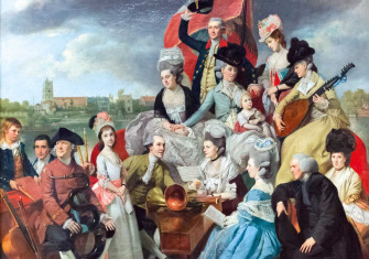 The Sharp Family, by Johan Zoffany, 1779-81 (John is next to Frances  in blue; Elizabeth plays the harpsichord beside Granville; James holds a 'serpent', William waves his hat and Judith plays the lute) © Stefano Baldini/Bridgeman Images.
