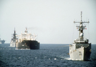 A starboard bow view of ships of tanker convoy No. 12 underway in the Persian Gulf, 21 October 1987