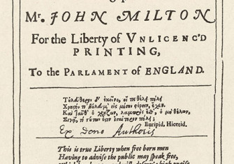 Frontispiece to John Milton's  Areopagitica, 1644.