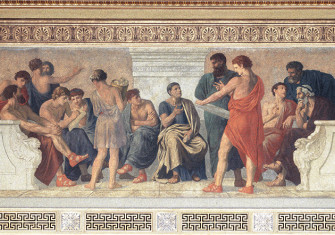 School of Aristotle. Fresco by Gustav Adolph Spangenberg, 1883-88.