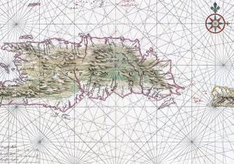 Nautical chart of Hispaniola and Puerto Rico, c.1639.