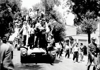 Given the boot: monarchists and the Iranian army celebrate in Tehran, 27 August 1953.