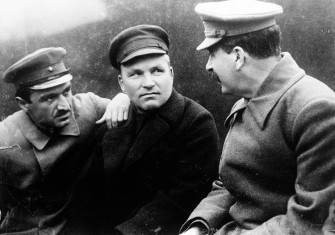 Russian rivals: Sergei Kirov (centre), flanked by Anastas Mikoyan and Joseph Stalin, October 11th, 1932.