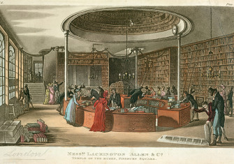 Shopping at the Temple of the Muses in a print by Rudolph Ackermann from 1809.