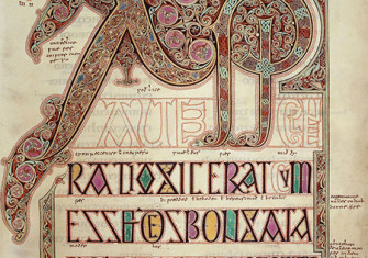 Monogram at the start of the Gospel of Matthew, from the Lindisfarne Gospels (c. 700 AD)