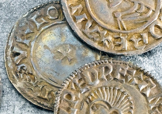 'Eoelred rex': silver pennies bearing Ethelred the Unready's name and portrait, 10th century.