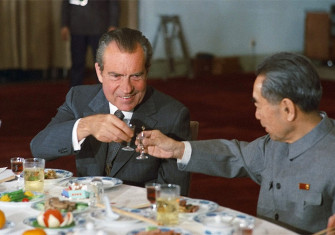 President Nixon and Chinese Premier Zhou Enlai toast during Nixon's 1972 visit to China.