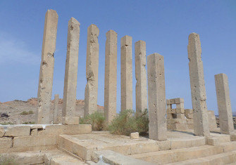 Still standing: the pillars of Sirwah's temple.