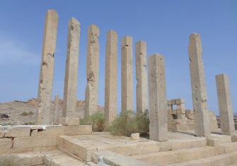 Still standing: the pillars of Sirwah's temple.