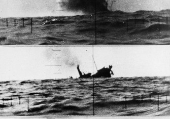 A Japanese merchant ship is torpedoed and sunk by a US submarine, November 18th, 1943.