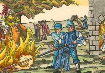 Witches being burnt at the stake, from a German woodcut of 1555.