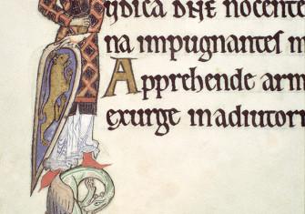 An illuminated knight from the Hunterian Psalter, c.1170.