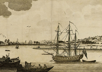 View of the Thames with an executed pirate hanging from the gibbets in the background. Copper-plate engraving from London Magazine, 1782 (detail).
