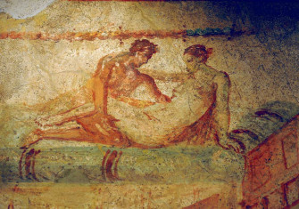 Erotic fresco from the lupanar, Pompeii, first century AD. Photo by Frédéric Soltan © Getty Images